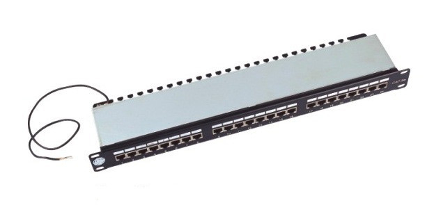 "Full Shielded Rack Mount Patch Panel 24 Port Cat5e 19"" Krone IDC FTP / STP"