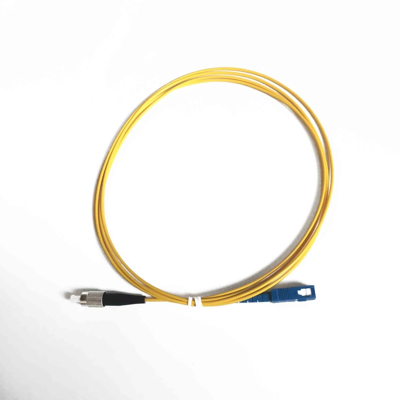 Yellow Optical Fiber Patch Cord 2.00mm SC / UPC - FC / UPC 2.0 Meter 2.00mm Fiber Optic Pigtail