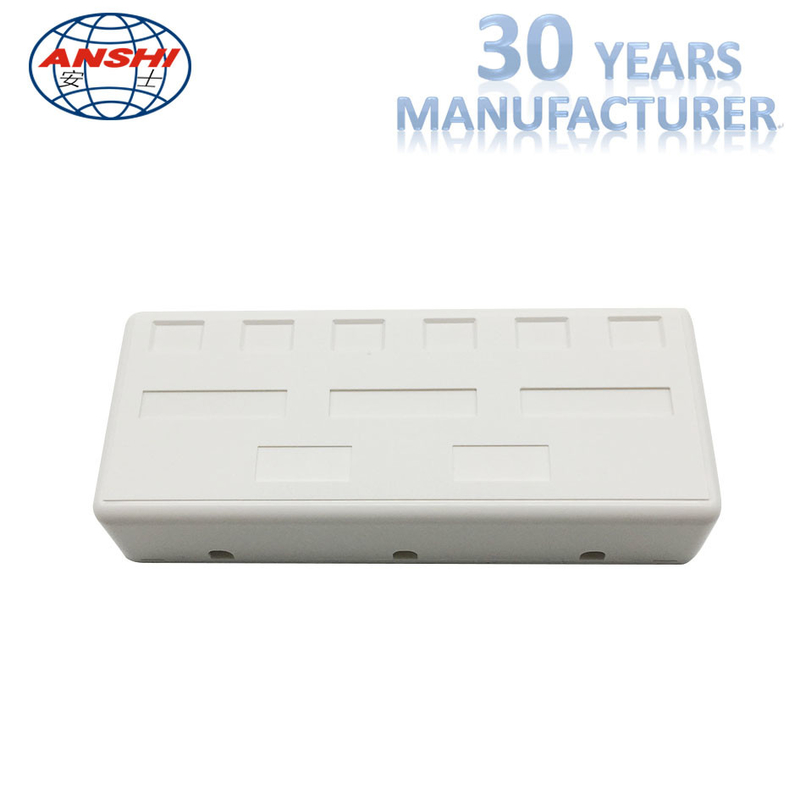 RJ45 CAT5E CAT6 UTP Keystone Jack Surface Mount Box 6 Port White Color