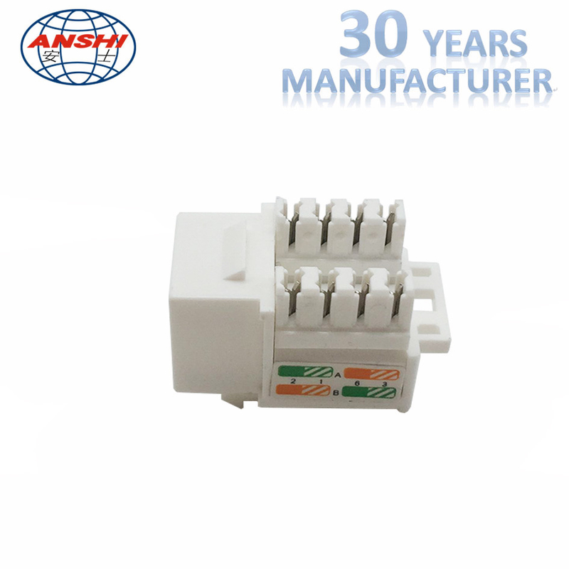 Cat6 RJ45 Keystone Jack in White and Keystone Punch-Down Stand