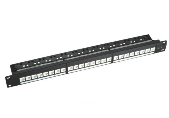 "110 IDC RJ45 19 ""1U 24 Port Rack Mount Patch Panel UTP Cat6 Warna Hitam"
