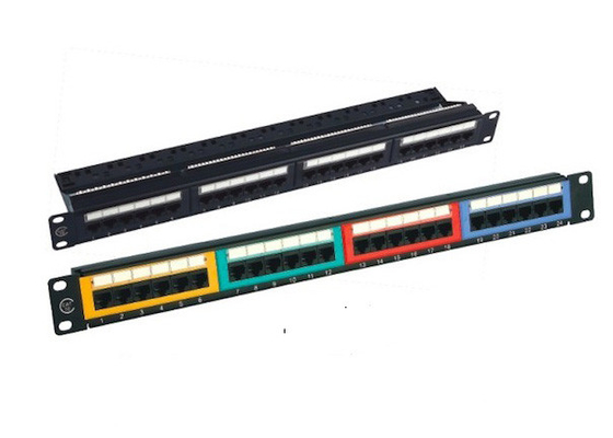 Cina Krone 24 Port Patch Panel UTP, Panel Patch Unshielded Warna Hitam IDC pabrik