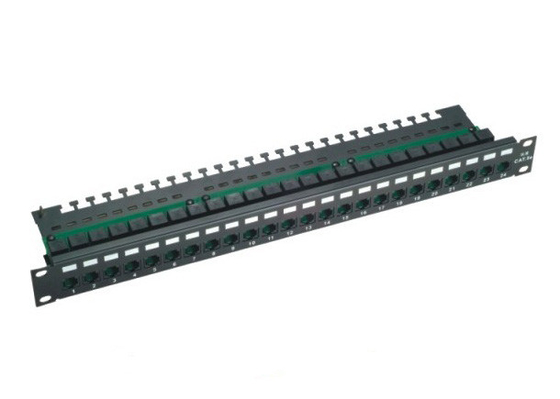 Cina Panel Panel Cat5e Black 24 Port, Panel UTP Unshielded Patch untuk Jaringan pabrik