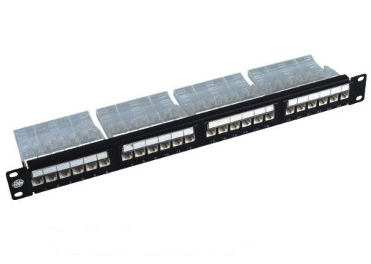 "Cina 19 ""24 Port Rack Mount Patch Panel Cat6 110-IDC UTP Unshielded Untuk Kabel pabrik"