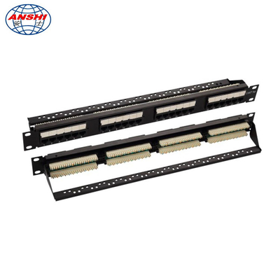 Cina Uji Pass Pass 100% 24 Port CAT5E Patch Panel 19 inci 110 IDC UTP Unshielded With Cable Management pabrik