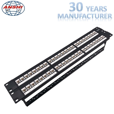 Cina Unshielded UTP Network Rack Mount Patch Panel 2u 48 Port Keystone Jack Modular Type pabrik