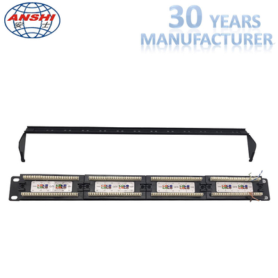 110 Idc Rack Mount Patch Panel 19 Inch Cat6 Unshield UTP Dengan Manajer Kabel