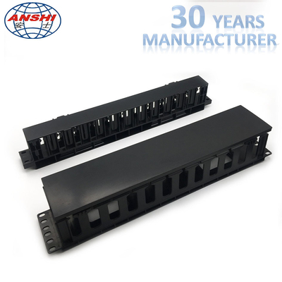 Plastic Networking Horizontal Cable Manager 19 Inch 2u 12 Port Rack Mount