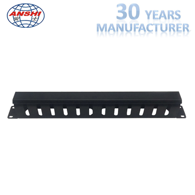 Black Horizontal Cable Management 1u Rack Mount 19 Inch Dengan 12 Port