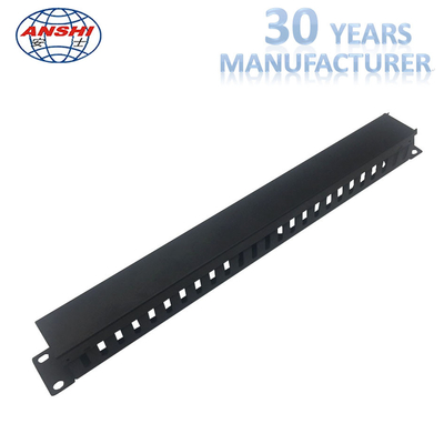 19 Inch Jaringan Horizontal Cable Manager 1u 24 Port Rack Mount In Black